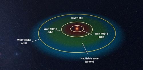 Звездная система Wolf 1061. Зеленое поле - зона обитаемости. Фото centauri-dreams.org