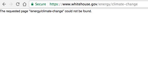 Запрос на сайте Белого дома об изменениях климата. Фото vocativ.com