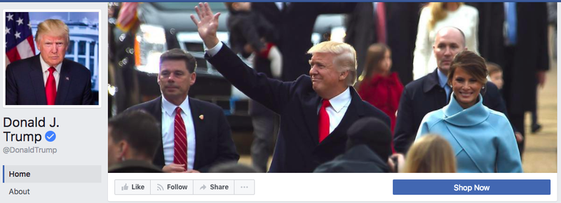 """Вместо кнопки """"Отправить сообщение"""", на официальной странице президента есть """"Купить"""", которая переправляет на магазин от кампании Трампа. Фото vox.com"""