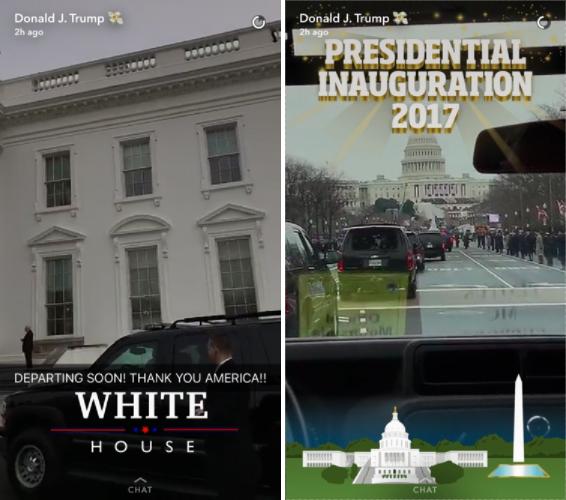 Скриншоты опубликованных видео Дональдом Трампом в Snapchat. Фото mashable.com