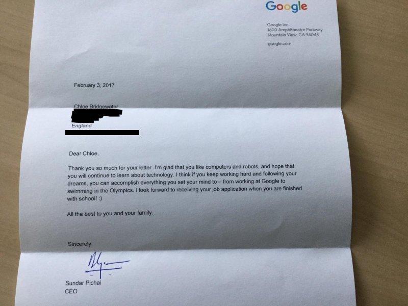 Письмо Хлое от Сундара Пичаи. Фото: businessinsider.com
