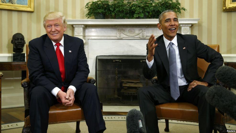 Барак Обама и Дональд Трамп. Фото gdb.rferl.org