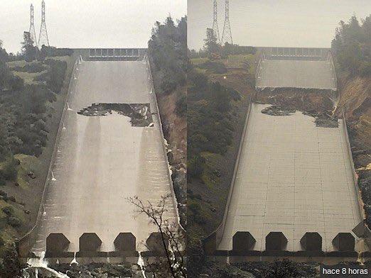 Повреждение водостока дамбы Оровилл. Фото: cont.ws