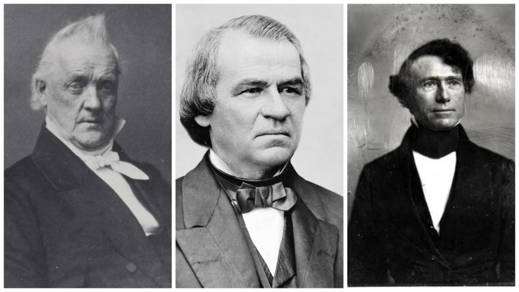 Джеймс Бьюкенен, Эндрю Джонсон и Франклин Пирс (слева направо) оказались самыми непопулярными президентами. Фото http://lichnosti.net, academic.ru, krugosvet.ru