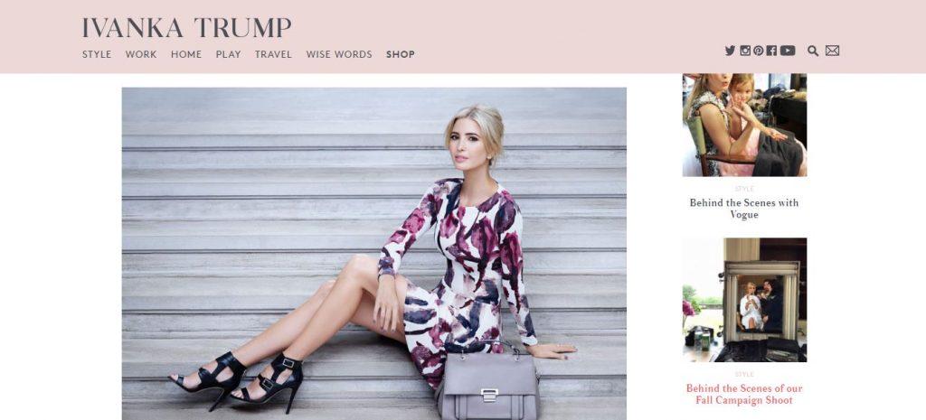 Иванка Трамп рекламирует собственную продукцию на своем сайте. Фото http://ivankatrump.com