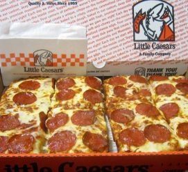 LITTLE CAESARS PIZZA DEEP DISH PIE, Little Caesars Pizza Store Carry Out Restaurant Deep Dish Pepperoni Pizza