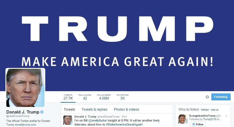 Официальный аккаунт президента в Twitter. Фото citizensfortrump.com