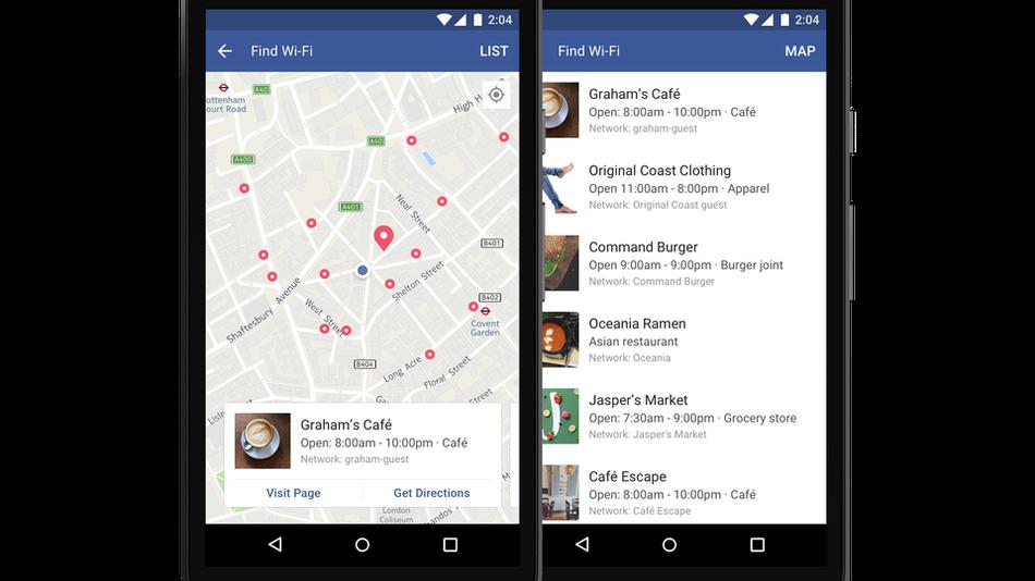 """Facebook расширяет функцию """"найти бесплатный Wi-Fi"""" во всех странах. Фото mashable.com"""