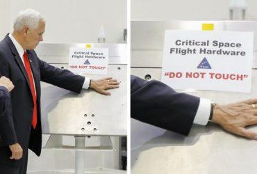 Вице-президент США проигнорировал надпись «Не трогать» в НАСА и в сети ему это не простили