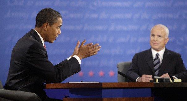 Обама и Маккейн на дебатах в 2008 году. Фото: politico.com