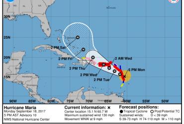 Ураган Мария усилился до пятой категории и обрушился на Доминику