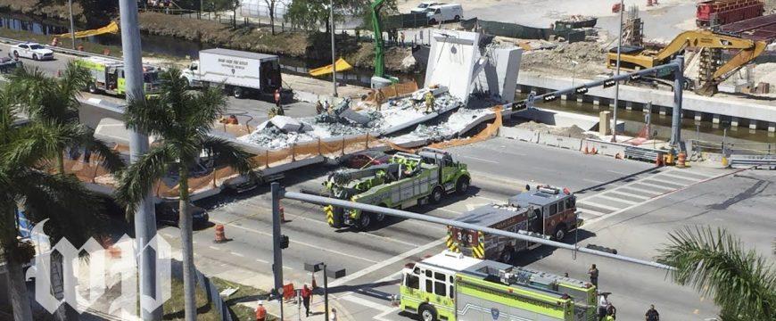 Из-за падения моста в Майами погибли 6 человек