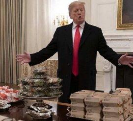 Трамп накормил бургерами футбольную команду в Белом доме (фото, видео)